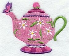"9  x 12"" Embroidered  Cotton  Block - Pre Order - Springtime Teapot"