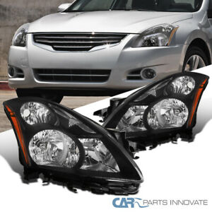 For 10-12 Nissan Altima 4Dr Sedan Matte Black Headlights Head Lamps Left+Right