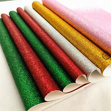 Fine Glitter Leather Fabric Vinyl Bling Solid Case Cover Bows Craft Material Red A4 (21cm X 30cm)