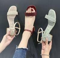 Fashion Women's Weave Ankle Strap Sandals Summer Open Toe Shoes Low Block Heels
