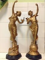 Vintage Pair of Pewter Man And Woman Figure