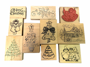 Christmas Rubber Stamp Lot, Tree Bells Snow Covered Home
