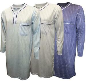 Mens Nightshirts Dot Print Cotton Blend Long Sleeve Pocket Nightwear Loungewear