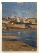 Tableau, Huile sur toile, Vue de ville au bord de l'eau, XXe