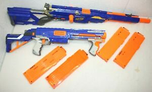Nerf N-Strike Dart Gun Blaster LOT - LONGSTRIKE CS-6 w/ barrel + Raider CS-36