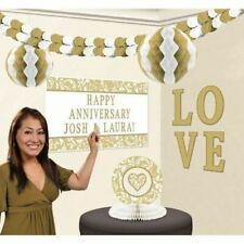 Large Golden Wedding Anniversary Decorating Kit Poster Centrepiece Garland
