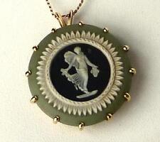 Vintage 14k Green Gold Wedgwood Jasperware Reversible Cameo Pendant~Superb Mount