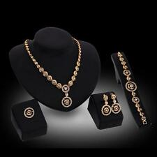 Fashion Women 18K Gold Plated Crystal Round Necklace Ring Earrings Jewelry Set