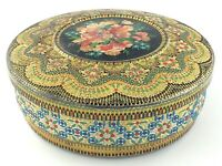 Vintage Tin Container Made In Holland Raised Mosaic Style Floral Decor S245