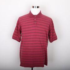 Bugle Boy Red Stripe Polo Casual Shirt Men's L Short Sleeve