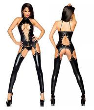 Sexy Lingerie Black PVC Wet Look Faux Leather Vinyl Jumpsuit Playsuit 850707