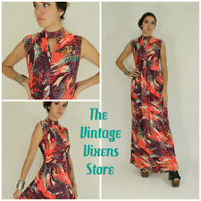 VTG 70s Psychedelic UNDER THE SEA Cosmic KEY HOLE Hippy Disco MOD Maxi Dress s/m