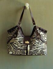 Vin Baker New Cream &  Brown Zebra Print Pony Hair & Leather Large Shoulder Bag