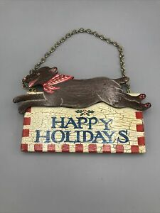 Holiday Cottage Decorative Happy Holidays Hanging Dog Sign - Hand Painted