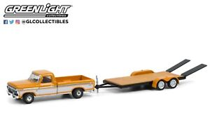 1:64 GreenLight *HITCH & TOW 22* 1976 Ford F150 Pickup & Flatbed Trailer NIP