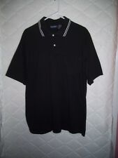 Puritan Black Short-Sleeved Cotton Knit 2-Button Polo Shirt - Size LT Large/Tall