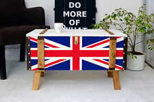 Vintage Wooden pine chest trunk blanket box coffee table steamer union jack