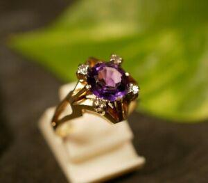 Zauberhafter 585 14 K Gold Ring Amethyst Diamant 0,12 Carat Lila Flieder Stern