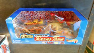 HOT WHEELS SET OF 4 FUNNY CARS YELLOW FORD,BLUE CHEVY, RED & SILVER PONTIAC FIGS
