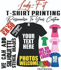 Womens T Shirt Custom Personalised Printing Ladies T-shirt Photo Text Hen Party