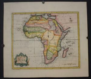 AFRICAN CONTINENT 1752 JOHN GIBSON UNUSUAL ANTIQUE ORIGINAL COPPER ENGRAVED MAP
