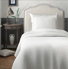 Tommy Bahama home TWIN quilt set TB solid white New