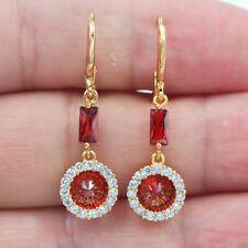 18K Yellow Gold Filled Women Red Topaz Zircon Round Circle Dangle Earrings
