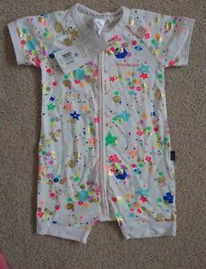 NEW BONDS Unisex White Glitter Bomb confetti summer zippy Wondersuit - size 1