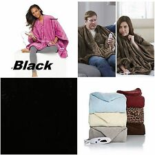 Soft & Cozy Fleece Fur Heated Electric Throw Blanket Angel Wrap Robe  .. BLACK
