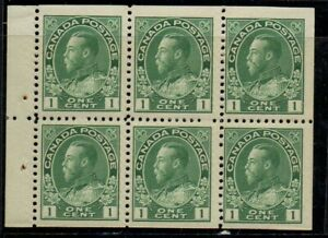 Canada Sc 104a 1911 1c green G V Admiral issue booklet pane of 6 mint