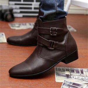 UK Men's Low Heeled Buckle Boots Punk Motorcycle  Oxfords Ankle Shoes Zipper Up