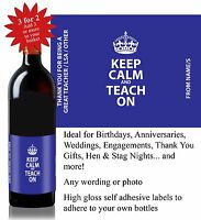 Personalised Keep Calm Thank You Teacher Gift Wine Bottle Label *3 for 2* -025