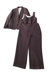 Tahari Arthur S. Levine Pinstripe Brown Pant Set Suit Womens 10P / 10 P