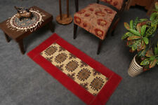 2x3 Geometric Red Hand Knotted Oriental Vintage Wool Traditional Patch Area Rug