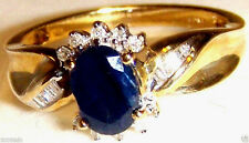 10K  YELLOW GOLD BLUE SAPPHIRE OVAL & DIAMOND RING, SIZE 7, 1.10(TCW)-(0.10DIA)