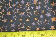 By 1/2 Yd, Orange & Purple Stars on Black Quilting Cotton, Halloween Theme, N497