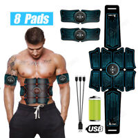 A-Tion 8 Pads Abdominal Muscle Toner Abs Trainer EMS Muscle Stimulator Fitness