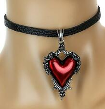 Red Heart Gothic Roses Vine Leather Choker Necklace Jewelry Kawaii Manga Cosplay