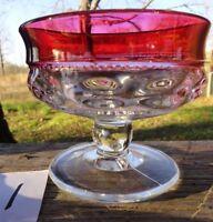 King's Crown Sherbet/Dessert dish Thumbprint Cranberry Indiana Glass (1)