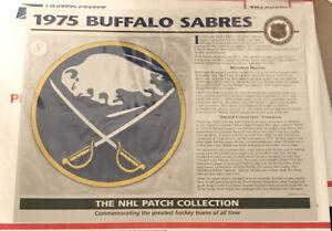 1975 BUFFALO SABRES Willabee & Ward NHL Throwback Hockey Team Logo Patch & Card
