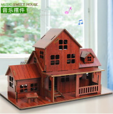 Wooden Jigsaw Puzzle Sweet House with Music Assembly Model DIY Christmas Gift