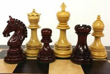 "BLOOD ROSEWOOD GREEK BRIDLED 4 3/8"" Kg Large Staunton Chess Men Set - NO Board"