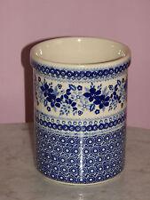 Genuine Hand Made Polish Pottery UNIKAT Kitchen Utensil Jar! Rembrandt in Blue!