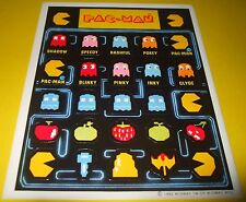 Vintage 1982 PAC-MAN Ghost Arcade Game Character Stickers Sheet~Retro 80s~Rare