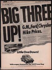 1974 VOLKSWAGEN VW Bug Beetle AD Big 3 go up!  Little one stays down!