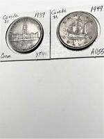 2 Canadian Silver dollars: 1939 (XF) & 1949 (AU+)