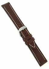 20mm Hadley Roma Brown with White Stitching Genuine Leather Watch Band MS894