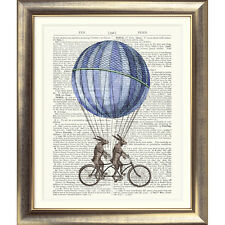 ART PRINT ON DICTIONARY ANTIQUE PAGE Hare Vintage Rabbit Bicycle Contemporary