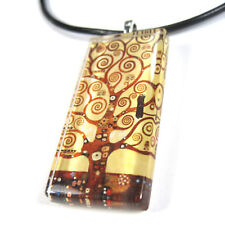 THE TREE OF LIFE Glass Tile Pendant With Necklace