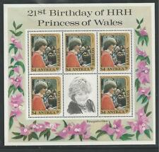 Antigua Barbuda # 665 Mnh Princess Diana'S 21St Birthday. Miniature Sheet